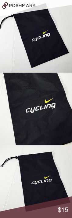 Nike Cycling Nylon draw string bag Black Small Nike Cycling Nylon draw string bag Black white lettering yellow swosh 15x10 gently used - SKU B46 Nike Bags