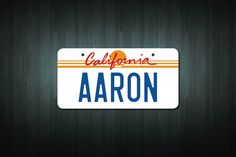 This listing is for one brand new custom made Mini California USA Style License Plate adhesive vinyl sticker/decal, with the name of your choice (up to 10 letters or numbers), created by Doozi.