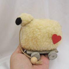 Primitive/Folk art handmade Sheep on wheels by Kazziesbruins on Etsy