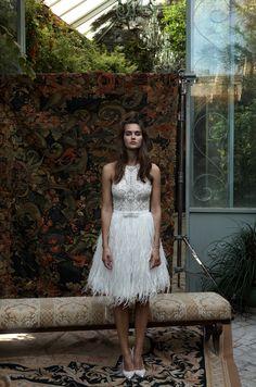 Kurzes Brautkleid von Lihi Hod   Mehr kurze Brautkleider auf http://www.hochzeitsplaza.de/brautkleider-trends/kurze-brautkleider   #hochzeit #brautkleid #braut  #kurz #federn #romantisch #standesamt #modern #fashionista