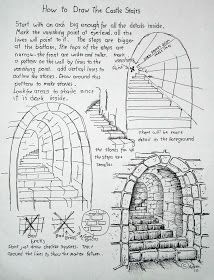 How to Draw Worksheets for The Young Artist: How To Draw Stone Stairs, Lesson and Worksheet