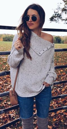 #fall #outfits white knit sweater