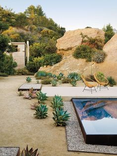 Sant Architects Changes the Narrative for a Boulder-Strewn Project in Topanga, California Topanga California, California California, Outdoor Spaces, Outdoor Living, Landscape Design, Garden Design, Santa Helena, California Backyard, Desert Backyard