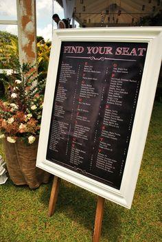 Alphabetical arrangement framed seating chart
