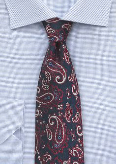 Red, Blue, and Silver Paisley Silk Tie | Bows-N-Ties.com
