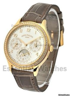 Patek Philippe Ladys Perpetual Calendar 7140R with Diamond Bezel - Rose Gold on Strap with White Opa