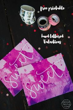 Hand Lettered Watercolor Valentine's Day Postcard- To One Sweet Friend