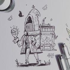 Still needs some finishing touches but heres #15 (mysterious) for inktober 2017  .  .  .  .  .  #inktober #inktober2017 #mysterious #traveler #journey #wierdo #art #artistoninstagram #instaart #instagood #effect14 #drawing #traditionalart #copicmultiliner