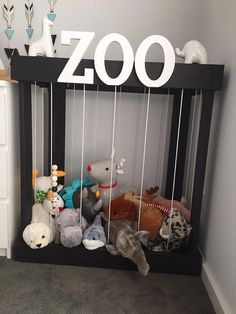 Soft Teddy Zoo toy storage Stuffed Animal Zoo timber by TwigMel