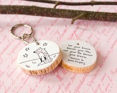 Wood Quote Keychain Wooden Fox Key Chain Ring Black White Cute Illustration Drawing Eco Friendly Reclaimed Tree Branch Inspiring Dream Life