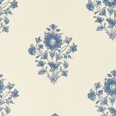 Beatrice Bouquet in Indigo by Schumacher - blue floral design on cream fabric - adapted from an antique Indian block printed cotton Floral Pillows, Floral Fabric, Blue Fabric, Fabric Patterns, Print Patterns, Fun Patterns, Home Decor Fabric, Schumacher, Fabric Samples