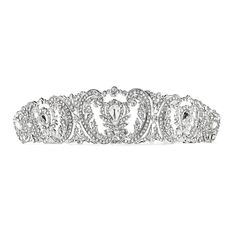 Chic Vintage Inspired Wedding Tiara with Pave Crystals - Affordable Elegance Bridal