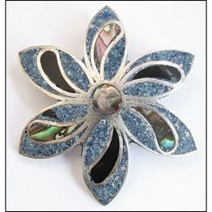 Vintage Sterling Silver, Inlaid Abalone, Black Onyx, Crushed Stone Brooch Pin, Pendant, Taxco, Mexican
