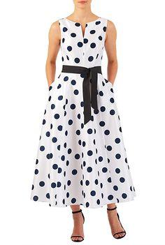 I this Polka dot print dupioni midi dress from eShakti Girls Formal Dresses, Pin Up Dresses, Simple Dresses, Summer Dresses, 60s Dresses, Shift Dresses, Floral Dresses, Maxi Dresses, Retro Vintage Dresses