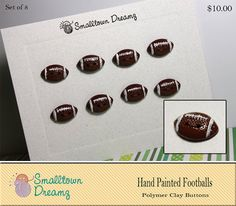 Polymer Clay Buttons Hand Painted Footballs  (Set of 8) via Etsy