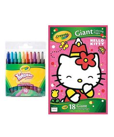 Look what I found on #zulily! Hello Kitty Giant Coloring Book & Twistables Crayon Set #zulilyfinds