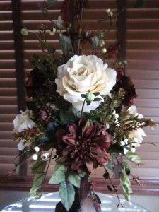 Silk Floral Flower Arrangement Centerpiece Brown Dahlias Cream Roses