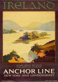 Vintage Anchor Line Ireland A3 Poster Reprint