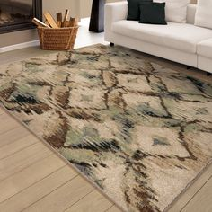 "Carolina Weavers Brilliance Collection Called Beige Area Rug (5'3 x 7'6) (5'3"" x 7'6""), Brown (Polypropylene, Geometric)"
