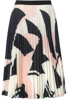 Structure Print Pleated Skirt