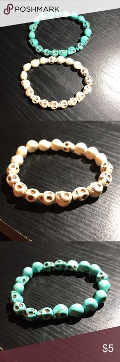 Skull bead bracelets Purchased from pacsun. Barely worn. Bracelets do stretch PacSun Jewelry Bracelets