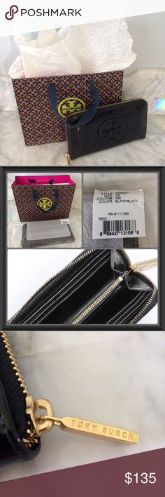 NEW Tory Burch Patent Wallet Brand new Tory B wallet with wrapping & packaging. Classic patent leather with gold hardware in gift giving condition, bag included. 8 credit card slots, 2 bill pockets, 1 zip pocket at center. Measures 7.5L X 4H X 1D. Retail price $195. Elegant & timeless item. Would make a lovely Valentine's Day gift  ❤️ Tory Burch Bags Wallets