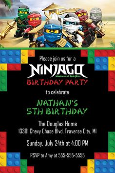 DIY Digital File Only No printed materials will be shipped. You can print as many as you want! The Ninjago Legos are all excited to announce an upco… - Girl Birthday Themes, Lego Birthday Party, 6th Birthday Parties, Boy Birthday, Birthday Ideas, Festa Ninja Go, Ninjago Party, Lego Ninjago, Lego Party Invitations