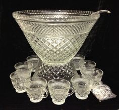 Anchor Hocking Wexford Punch Bowl Set Complete in Original box