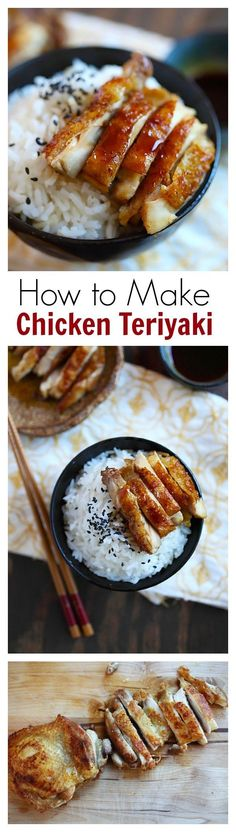 Chicken Teriyaki – learn how to make teriyaki sauce and chicken teriyaki that taste like the best Japanese restaurants. So easy and so good . I Love Food, Good Food, Yummy Food, Tasty, Delicious Recipes, Chicken Teriyaki Recipe, Chicken Recipes, Recipe Chicken, Healthy Chicken