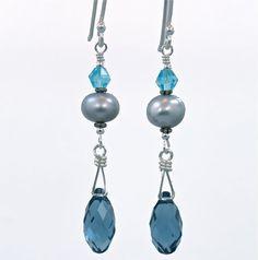 Sterling earrings w/denim blue Swarovski crystals