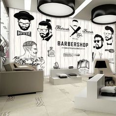 Barber shop decor with some loose, subtle waves is a soft and romantic style. Barber Shop Interior, Barber Shop Decor, Beauty Salon Interior, Salon Interior Design, Salon Design, Barber Logo, Barber Poster, Barbershop Design, Barbershop Ideas