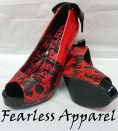 Iron Fist American Nightmare RED Platform Heels Shoes Lace UP Skull Size 6 10 | eBay