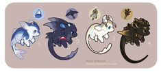 Drajinn Set 3 // Closed by tessary on DeviantArt Cute Fantasy Creatures, Mythical Creatures Art, Weird Creatures, Magical Creatures, Creature Concept Art, Creature Design, Cute Animal Drawings, Kawaii Drawings, Character Art