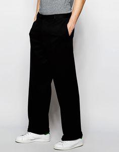 ASOS+Wide+Leg+Trousers+In+Black+Jersey