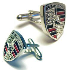 Silver Porsche Logo Automotive Car Cufflinks #silvercufflinks #porsche