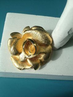 Flower Scarf Clip signed P.E.P. gold tone by PassingTides on Etsy