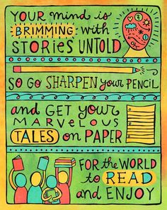"my doodle ""your marvelous tales"", to aid and abet your storytelling habits. illustration and text © aimee myers dolich. artsyville.etsy.com."