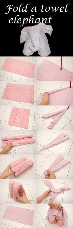 how to fold a towel elephant