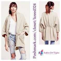 "FREE PEOPLE Jacket Seamed Kimono Oversize Cape Top Size M/L.  New with tags. $168 Retail + Tax.   Color: Tan/Beige.   Gorgeous lightweight draped jacket with optional drawstring waist and tie closure.  Loose fitting and cape-like.  Linen, cotton.    ❗️ Please - no trades, PP, holds, or Modeling.   ✔️ Reasonable offers considered when submitted using the blue ""offer"" button.    Bundle 2+ items for a 20% discount!    Stop by my closet for even more items from this brand! Free People Jackets…"