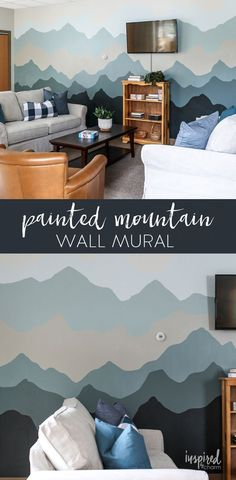 Painted Mountain Wall Mural - Before and After Senior Center Makeover Living Room Murals, Bedroom Murals, Bedroom Decor, Wall Decor, Bedroom Ideas, Mural Wall Art, Home Wall Art, Mural Painting, Mountain Paintings