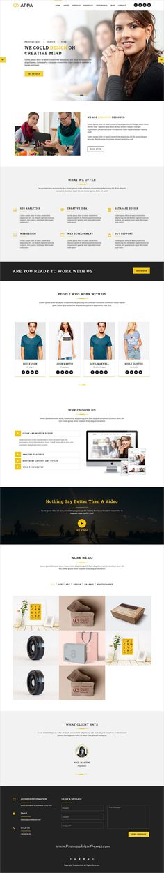 Arpa is clean and modern design responsive #WordPress theme for #onepage creative #business website to live preview & download click on Visit