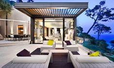 Fantastic Villa Design in France: Aluminum Pergola Glass Railing Elegant Outdoor Furniture Soft Outdoor Lights ~ jangrue.com Architecture Inspiration