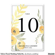 Yellow Floral Wedding Table Numbers
