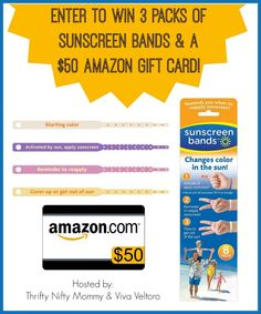 Sunscreen Bands Giveaway - enter to win a 3-pack and a $50 Amazon Gift Card!  These bands are great for sun safety!