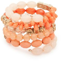 Mixed Coral Bead And Cupchain Wrap Bangle ($6.93) ❤ liked on Polyvore featuring jewelry, bracelets, accessories, dresses, shoes, women's clothing, bracelet bangle, beads jewellery, bead bracelet and coral jewellery