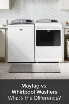 What's the difference between Maytag and Whirlpool? Which is better, Maytag or Whirlpool? And, most of all, which brand comes out ahead when you put a Maytag up against a Whirlpool washer. Well, the answers to those questions can be found below as the experts at Appliances Connection consider the most important aspects of these well-established appliance companies, compare Maytag and Whirlpool washers, and hopefully help you make the choice that is right for you. Laundry Decor, Laundry Room Design, Steam Cleaning, Deep Cleaning, Laundry Appliances, Home Appliances, Best Washer Dryer, Stainless Steel Drum, Front Load Washer