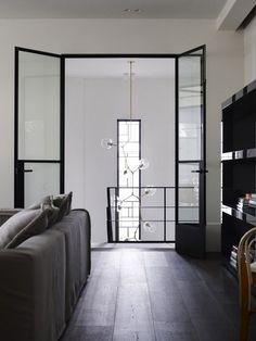 Thin black frame doors
