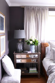 Black Frosted Plum Wall Color - Dark and Cozy Bedroom from The Inspired Room - Great Home Decorations Dark Purple Bedrooms, Dark Purple Walls, Plum Bedroom, Plum Walls, Bedroom Black, Bedroom Colors, Home Bedroom, Bedroom Decor, Bedroom Ideas