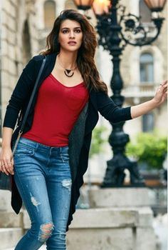 Help me find a similar red spaghetti top and long shrug as Kriti Sanons