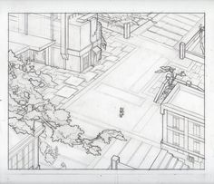 Perspective pencil layout of a comic panel.  Tiny owl walking in cityscape.